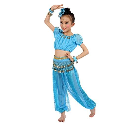 Bekleidung Longra Kinder Mädchen Tanzkostüme Bauchtanz Karneval Kostüm Set Kinder Bauchtanz Ägypten Tanz Tuch Chiffon Tops +Hosen Tanzkleidung für Kinder Mädchen (140CM, Light Blue) (Blaue Bauchtanz Kostüm)