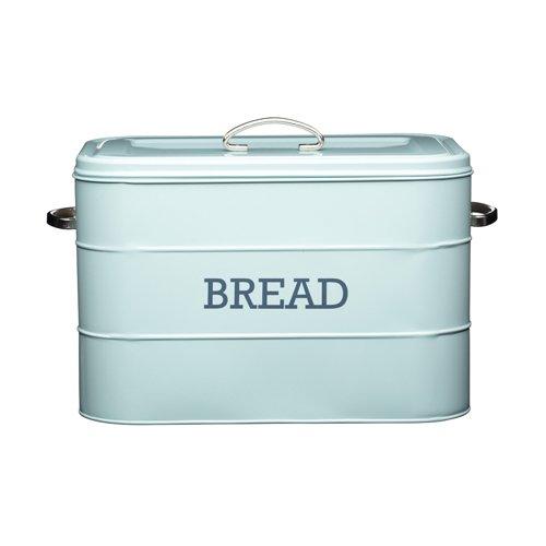 """Kitchen Craft Living Nostalgia Brotkasten, Stahl, Aufschrift """"bread"""", Blau"""
