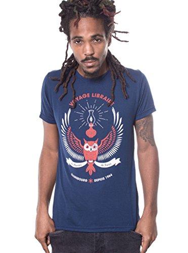 Herren T-Shirt mit Paris Voyage Libraire Eule Aufdruck - handgefertigt durch Siebdruck auf 50% Baumwolle - Street Habit Dunkelblau