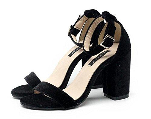 GLTER Femmes Pompes sangle à la cheville Simple Nice Wild Suede Word Chaussures à talons hauts Court Chaussures Rose Noir Black