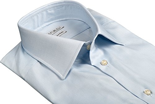 Ernani Camicia Oxford Celeste Slim Fit, collo italiano, uomo - Made in Italy - Celeste