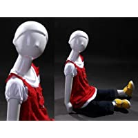 (MZ-TOM5) Abstract Child (kid) Mannequin Glossy White, Fiberglass, Sitting pose. by Roxy Display