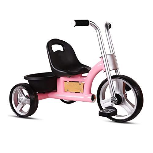 NBgy Dreirad, Retro Multifunktions-Dreirad Für Kinder, Schnelles Zerlegen Und Aufblasen des Rades, Baby-Dreirad Im Freien, 2 Farben, 52 * 74 * 46cm (Farbe : Rosa) (Flyer-rosa Radio)