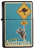 LEotiE SINCE 2004 Feuerzeug Schwarz Benzinfeuerzeug Sturmfeuerzeug Metallfeuerzeug Australien Koala Kängeruh