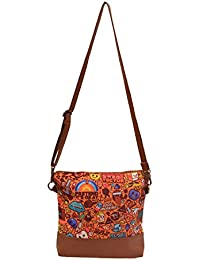 Amit Bags Beautiful Printed Poly Canvas Cross Body Bag For Girls And Women ( Multi Colour)