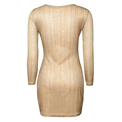 Bluestercool Femmes Robe à manches longues Split Slit Mesh Sheer Party Night Out Club Mini Robes Kaki