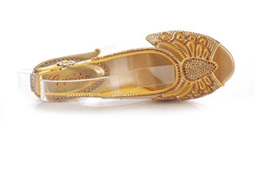SHFANG Damen Sandalen Strass Steine ??Sandalen Sommer Poe Fisch Mund Strass Hohle Metall Bankett Golden 8CM gold (fine heel)
