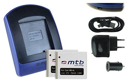 2 Akkus + Ladegerät (Netz+Kfz+USB) NB-4L für Canon Ixus 115 HS, 255 HS.../ Powershot SD30 SD40, SD1100, TX1 ...s. Liste Powershot Sd30 Digital Elph Kamera