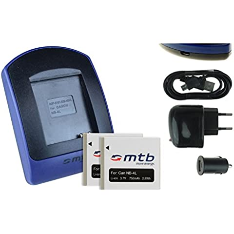 2 Baterìas + Cargador (USB/Coche/Corriente) NB-4L per Canon IXUS 30 40 50 55 60 65 70 75, 80, 100 IS., v.