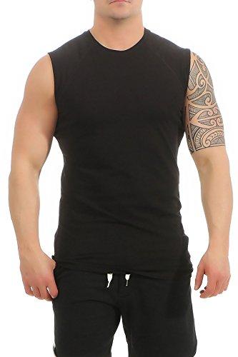 Mivaro Herren Shirt ohne Ärmel - Tank-Top - Muscle Shirt - Muskelshirt - Achselshirt - T-Shirt ohne Arm, Größe:XL, Farbe:Schwarz - Armee Tank-top
