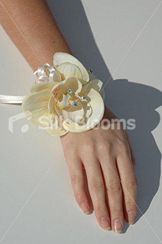 Vero Touch Avorio Orchidea Wrist Corsage con Swarovski