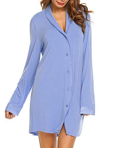 Liebe Damen Nachthemd (Nachthemd T-Shirt Damen Still Pyjama Nachtwäsche Lange Hülsen Schlafanzugoberteil Schwangere Schlafkleid blau)