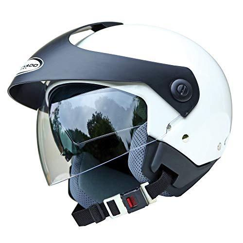 Saferide | Helm Motorrad Mit Sonnenblende Matt Weiß XXL - 63-64 cm Rollerhelm Quad Damen Herren Roller Motorradhelm Regenschutz Jugendliche Schutzhelm Sturzhelm Erwachsene Moped Mofa