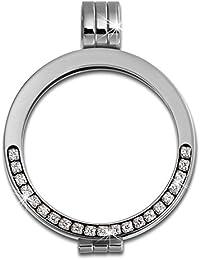 Adamello mujer coin versión 25 mm acero inoxidable-colgantes circonita acero joyas ESC051W