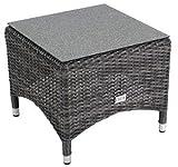 Beistelltisch Gartentisch Soho, Geflecht doppelt grau/anthrazit 50x50x44cm