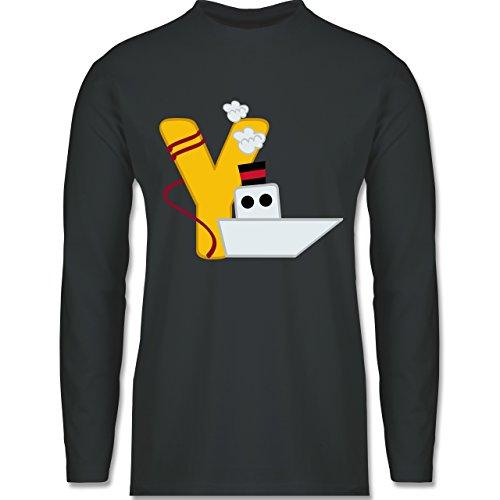Anfangsbuchstaben - Y Schifffahrt - Longsleeve / langärmeliges T-Shirt für Herren Anthrazit