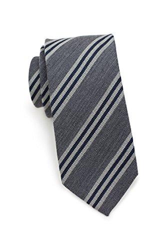Blackbird Gestreifte Business Krawatte Herren, 2 Farben, Mischgewebe Seide & Wolle, 7 cm schmal, Skinny / Slim Tie, Handarbeit (Grau / Weiß) (Tie Weiße Skinny)