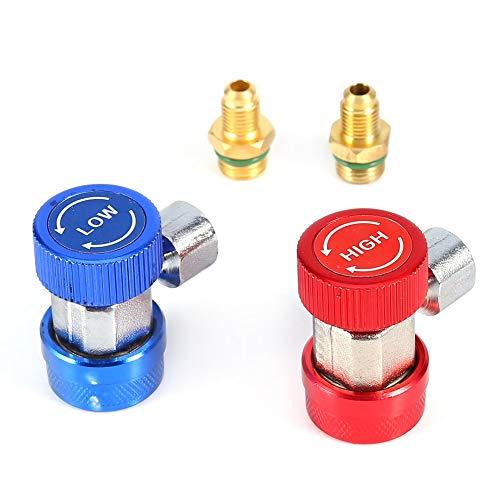 HYCy High/Low-Side-Schnellkupplung 2X R134A Kupfer-Schnellkupplung Klimaanlage Plus Schneetyp-Adapter Auto Plus Fluorid-Schnellkupplung Autoklimaanlagen-Werkzeuge