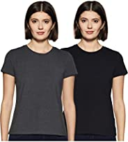 Amazon Brand - Symbol Women's Solid Regular Fit Half Sleeve T-Shirt (Combo Pack o
