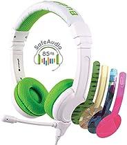 BuddyPhones SCHOOL PLUS - Volume-Safe Audio Headset for Kids, Foldable, Adjustable, w/Detachable 3.5mm Jack &a