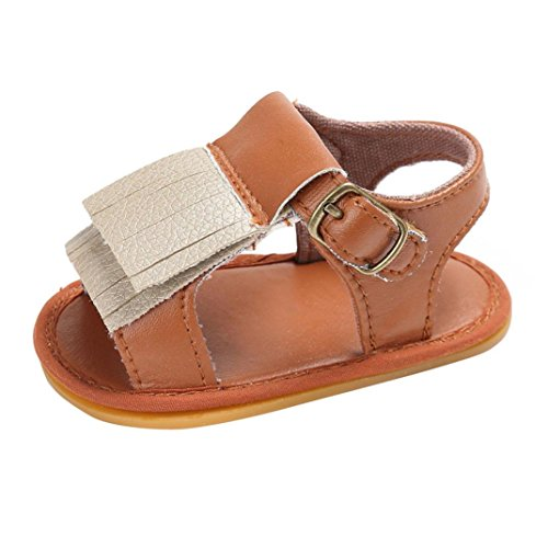 BZLine® Baby Neugeborenen Quaste Soft Sole Leder Schuhe Mädchen Sandalen Braun
