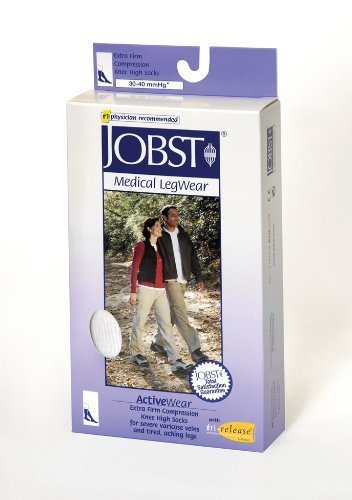ActiveWear 30-40 mmHg Firm Support Unisex Athletic Knee High Support Sock Size: Small, Color: Cool White by Jobst (Jobst Activewear)