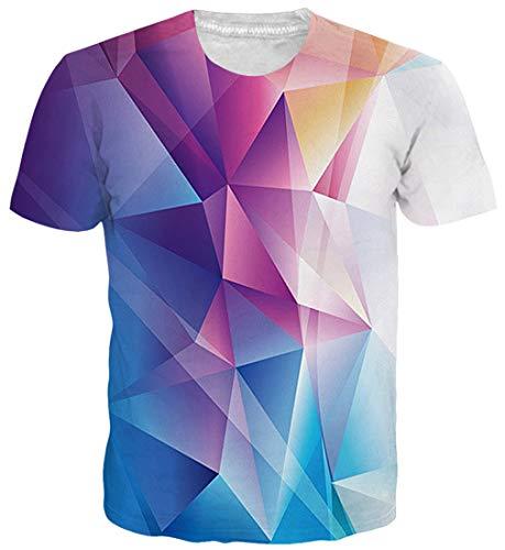 Geometrischen Print-Ärmellos (Goodstoworld 3D T Shirt Bunt Geometrisch Druck Herren Damen Printed Sommer Lustig Hippie Beiläufige Kurzarm T-Shirts Tshirt L)