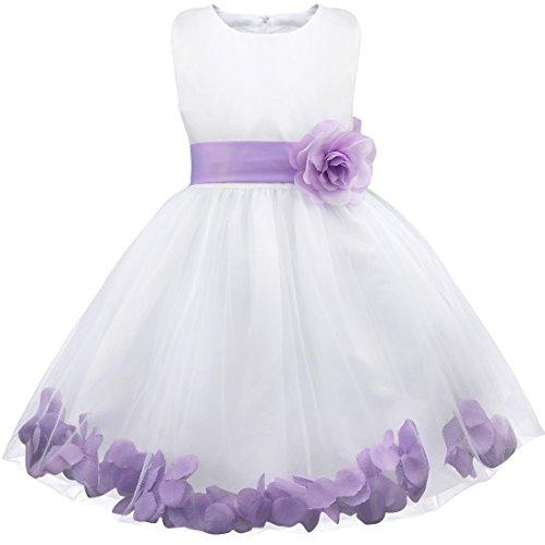 festkleid kinder iEFiEL Mädchen Kleid Pinzessin Blumen-Mädchen Kinder Weiß Kleid Hochzeit Festkleid Kommunionkleid 92 98 104 110 116 128 140 152 164 Lavender 104