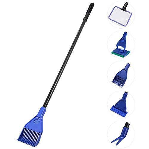 UEETEK Set de Limpieza de Tanque de Pescado de Acuario 5 en 1 Kit de Limpieza (Net + rastrillo + rascador + Tenedor + Esponja)