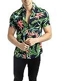 FRILIVIN Camicia Hawaiana da Uomo Blu Scuro Manica Corta Stampa Estiva Fiori Tropicale Taglia S