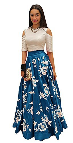 jsv fashion Cotton Silk Lehenga Choli (Skyblue_Free Size)