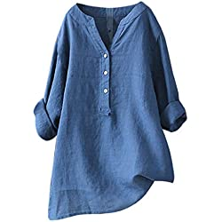 Camisetas Mujer Tallas Grandes Heavy SHOBDW Camisa De Manga Larga con Cuello Alto Blusa Casual Botones con Botones Túnica Suelta Camiseta Solid para Mujer(Azul,3XL)