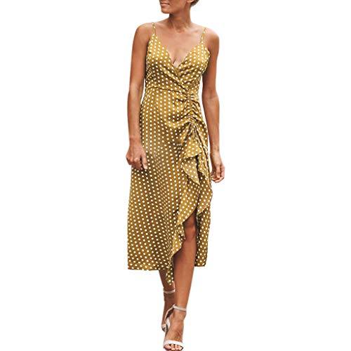 Vestidos Largos Verano Playa Mujer Casual Fiesta 2019 Largo Partido De Noche Señoras Moda del Punto Onda Boho Sin Manga del Verano Vestido Lunares (Amarillo, 2XL Tamaño: XXL Busto: 106cm / 41.73 '')