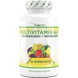 Vit4ever® Multivitamin A-Z - 350 Tabletten - 32 Vitamine - Kombination aus Mineralien + Aminosäuren + Spurenelementen + Antioxidantien - Laborgeprüft - Vegan - 350 Tage Versorgung - Täglich nur 1 Tablette