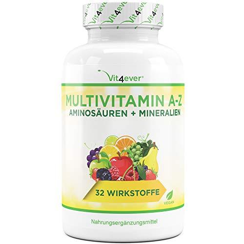 Multivitamin A-Z - 350 Tabletten - 32 Vitamine - Kombination aus Mineralien + Aminosäuren + Spurenelementen + Antioxidantien - Laborgeprüft - Vegan - 350 Tage Versorgung - Täglich nur 1 Tablette - Mulitvitamine