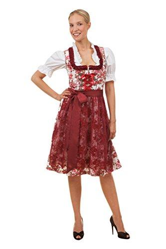 Edles Midi Dirndl 3-tlg. exclusive Estefania inkl. passender Bluse und Schürze rot, blau oder schwarz Gr. 34-50 (44, rot)