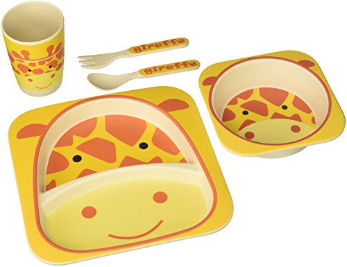 nandog-pet-gear-bamboo-fibre-giraffe-kids-plate-set