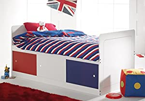 Scallywag Kids Captains Bed Narrow in White with 3 Sliding Doors in Red/White/Blue. Made In The UK.