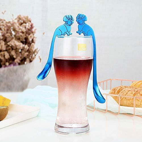 Genven Neue Küchenhelfer Cartoon Hundekopf hängen Tasse Löffel Kaffeelöffel (Silber)