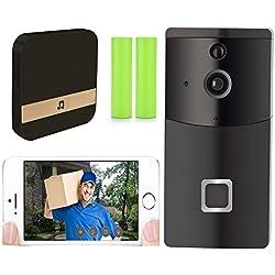 Nicam Sonnette Vidéo, Smart Sonnette 720P HD Wifi Caméra de Sécurité 32G TF, avec Carillon et Batterie, Vidéo en Temps Réel et Walkie Talkie Bi-directionnel, Vision Nocturne, Détection de Mouvement PIR et Contrôle d'Applications pour Android et iOS (HS0165)
