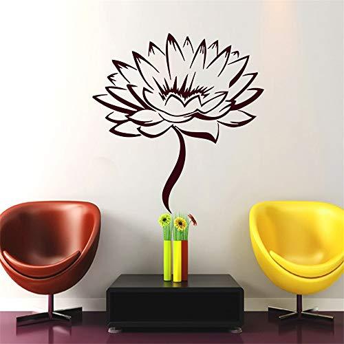 wlwhaoo Kaffee Lotus Blume Wandaufkleber Wohnzimmer Abnehmbare Selbstklebende Wohnkultur Vinyl Kunst Aufkleber lila 45 cm x 43 cm