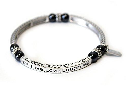 TEMPELWELT Armband Magnetarmband Live Love Laugh, Metall Armreif Affirmationsarmband bioenergetisch, Magnet Kügelchen je 800 Gauss
