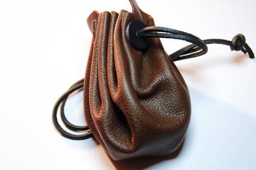 Mittelalterlicher Lederbeutel aus hochwertigem Rinds-Nappaleder Farbe: braun - 2