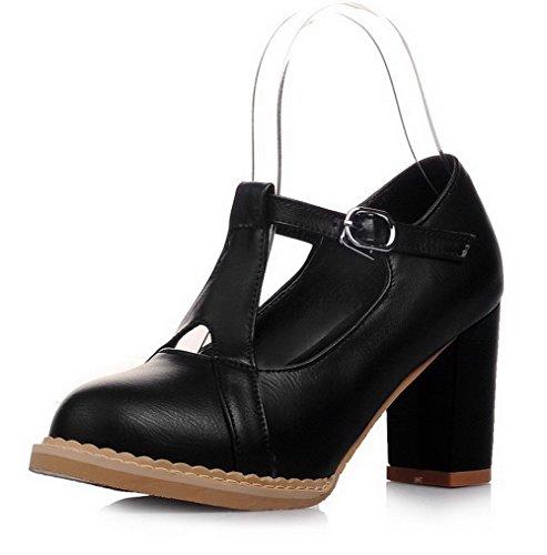 AllhqFashion Damen Weiches Material Schnalle Rund Zehe Pumps Schuhe Schwarz