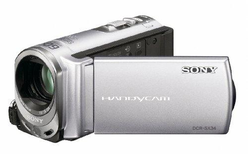 Sony DCR-SX34ES Camcorder (Flash, 60 fach optischer Zoom, 6,9 cm (2,7 Zoll) Display, 4 GB interner Speicher, Touchscreen) silber