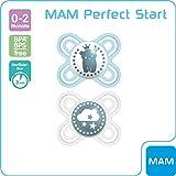 MAM Perfect Start Schnuller im Doppelpack, speziell für Früh- und Neugeborene, Silikonschnuller beugt Zahnfehlstellungen vor, mit Schnullerbox, 0 - 2 Monate, blau
