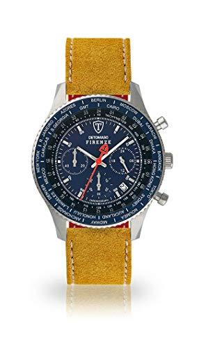 DETOMASO FIRENZE Uomo Orologio Cronografo Analogico Cinturino in pelle giallo quarzo quadrante blu SL1624C-BL-810