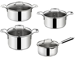 tefal jamie oliver e85712 cookware set 8 piece set saucepans with lid suitable for induction. Black Bedroom Furniture Sets. Home Design Ideas