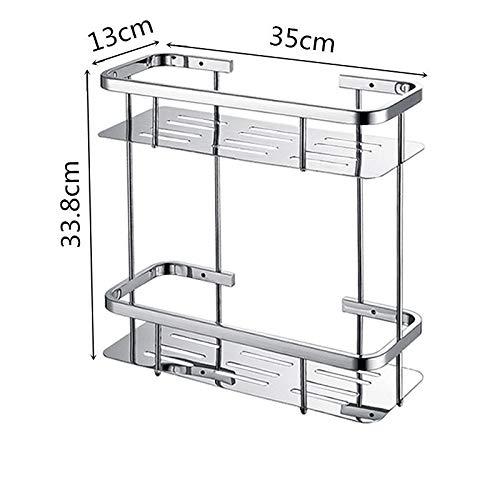 IN THE DISTANCE 304 Edelstahl Badezimmer Regal Single Double Shower Square Helle Warenkorb Regal Ordentlich Rack Caddy Storage Organizer (Colore : 2 Tier) -