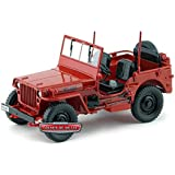 1942 Jeep Willys 1/4 Ton Army Truck Rojo 1:18 Welly 18036R